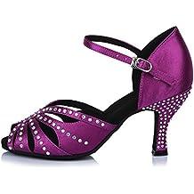 YKXLM Mujeres&Niña Zapatos latinos de baile Zapatillas de baile de salón Salsa Performance Calzado de Danza,Modelo ESAF435