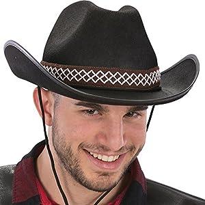 Carnival Toys 6562Sombrero de Cowboy, Adultos, Negro, One Size