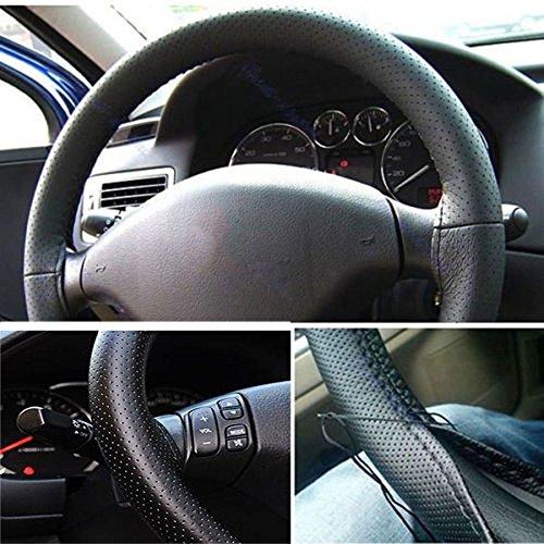 Atmungsaktive Auto-Lenkrad-Hülle, PU-Leder, zum selbst Nähen mit Nadel und Faden, Schwarz
