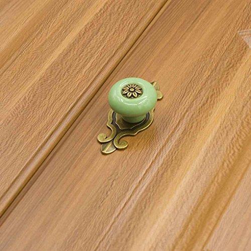 Demino Einzelnes Loch Bunte Keramik runden Griffen ziehen Knöpfe für Cabinet Schrankgarderobenfach-Schranktür 1901 Bronze & grün - Runde Cabinet
