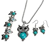 Best Owl Necklace - Owl Jewellery Set Tibetan Silver Turquoise Necklace Earrings Review