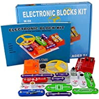 58 Kit de Ciencia DIY para Niños Kits de Experimento Bloques Electrónicos Circuitos de Ciencia Juguete Kit de Descubrimiento Educativo Seguro para 5-8 Edades Niños