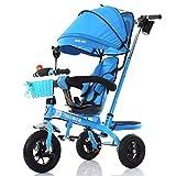DACHUI 4-en-1 triciclo infantil Paw Patrol, Carro de alta calidad para niños bicicletas para bebé Trikes Empuje 3 Rueda Bicicleta con identificador principal (azul) (Color : a)