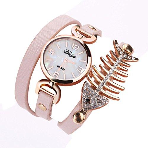 1 PC Damen Fisch Spezial Knochen Wicklung Analog Quartz Bewegung Armbanduhr Armband von CICIYONER (Rosa)