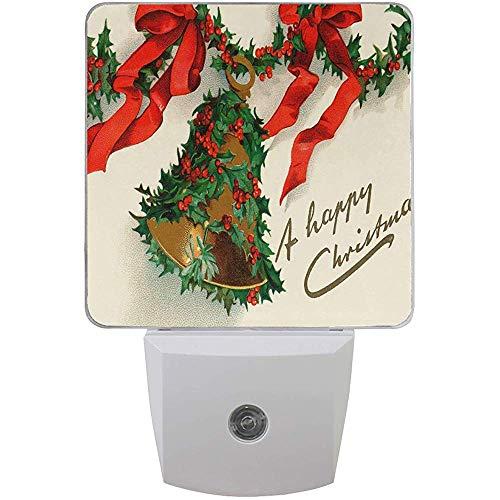 Katrine Store Winter Happy Christmas Night Light Plug in per bambini Neonati, Holly Bell Night Lights Auto Motion Senor per bagno Bedroomativ