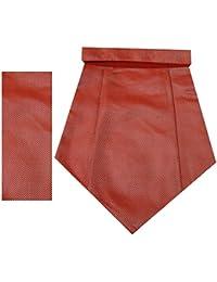 Navaksha Red Geometrical Micro Fiber Cravat with Pocket Square