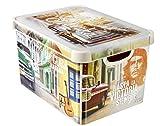 CURVER Aufbewahrungsbox Deco-Cuba Größe L in Creme, Plastik, 39.5 x 29.5 x 24 cm