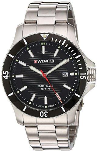 Wenger pour homme 'Seaforce' Suisse à quartz en acier inoxydable montre de style décontracté, couleur: Les LED Offrent (modèle: 01.0641.118)
