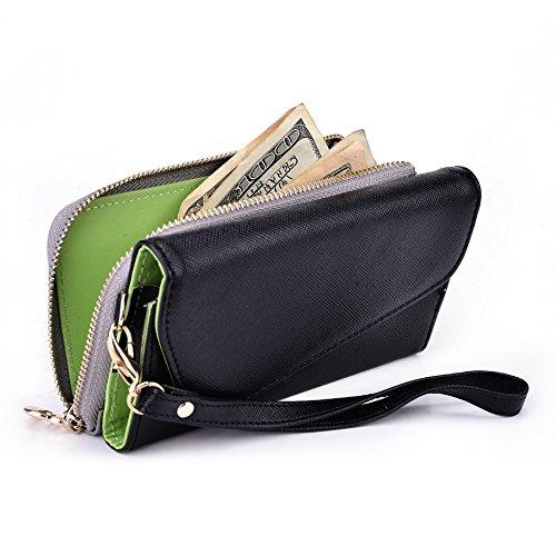 Kroo d'embrayage portefeuille avec dragonne et sangle bandoulière pour Smartphone Samsung Galaxy Xcover 2 Black and Blue Noir/gris