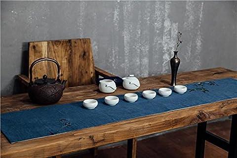 LINDA?Napperons Chemins De Table Ramie Style Chinois Broderie Fluidique Plante Fleurs Cérémonie Du Thé Table En Toile Nappe?PINK?180X30