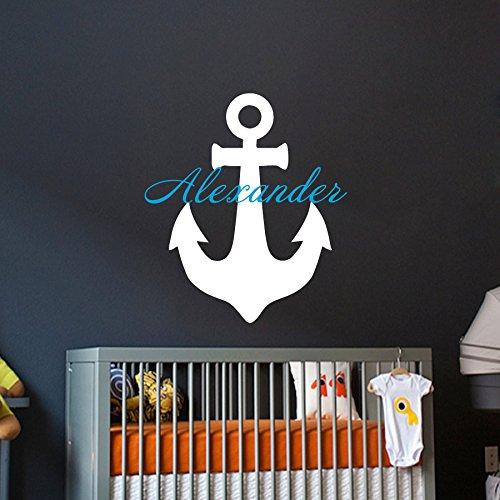 unge Persönlich Name Anker Meer Wandtattoo Monogramm mit Namen Kinder Geschenk Jungen Kinderzimmer Vinyl Aufkleber Wandsticker Fototapete Dekoration für Zuhause Schlafzimmer ()