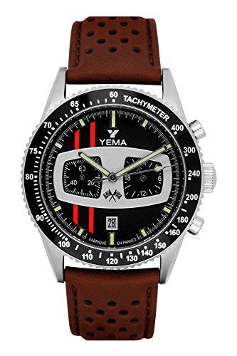 Reloj hombre–yema–rallygraf–piel marrón granulada–42mm–10bar–ymhf1479
