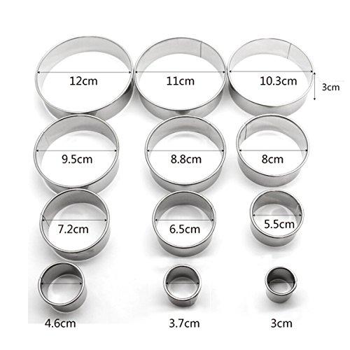 BESTOMZ 12 Piezas Cortador de Galletas de círculo - Cortadores de masa redonda de acero inoxidable para galletas, pasta de azúcar, donas, masa, magdalenas