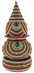 AMP Crafts Diamond Studded Wooden Decorative Kalash with Shri Fal (AMP-NH-58-DMND)
