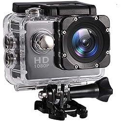 Mugast Caméra Sport DV, 7Couleurs Mini Caméscope Etanche Portable de Haute Définition Résistant à l'eau Jusqu'à 30Mètres Support Carte Mémoire 32G (Noir)