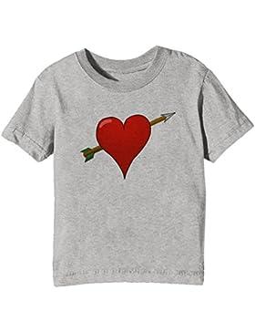 Corazón Niños Unisexo Niño Niña Camiseta Cuello Redondo Gris Manga Corta Todos Los Tamaños Kids Unisex Boys Girls...