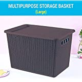 TIED RIBBONS Plastic Basket with Lid for Kitchen Laundry Clothes Toys Storage (33 x 20 x 22 cm, 14 LTR)