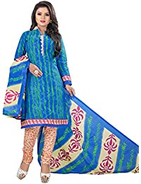 Rajnandini Women's Cotton Printed Dress Material(JOPLVSM3932_Blue_Free Size)