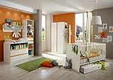 Dreams4Home Babyzimmer Set 'Coco II', Bett,Schrank,Wickelkommode,Regal,Wandboard,Alpinweiß,Absatz in Orange, Modell:mit Bettseiten;Bettkasten:mit Bettkasten