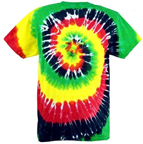 Guru-Shop Regenbogen Batik T Shirt, Herren Kurzarm Tie Dye Shirt, Baumwolle, Rundhals Ausschnitt Alternative Bekleidung Spirale 4