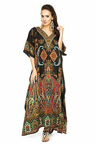 NEU Damen überdimensional Maxi Kimono Kaftan Tunika Kaftan Kleid gratis Größe - Paisley Schwarz, 46-52 (Arabische Kleidung)