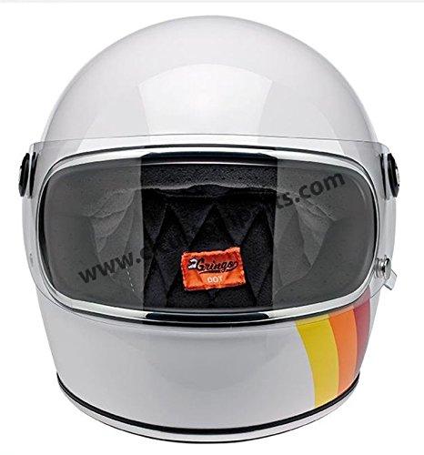 Casco Integrale Biltwell Gringo S White Tri-Stripe Bianco Helmet Vintage Retrò Anni 70 Custom Chopper Bobber Taglia L