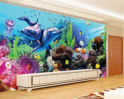 Fototapete Vlies Tapete Moderne Wanddeko Design Tapete Wandtapete Wand Dekoration Unterwasserwelt Aquarium 3D Delphin, 260 × 254CM