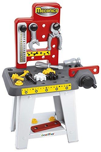 Jouets Ecoiffier - 2407 - Petit établi + outils pour enfants Mecanics - Jeu de bricolage - 19 pièces - Dès 18 mois - Fabriqué en France