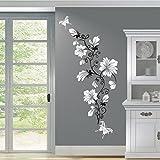 HomeTattoo ® WANDTATTOO Wandaufkleber Blumen Ranke 2 farbig Blumenranke Schmetterlinge 389 XL ( L x B) ca. 200 x 70 cm, Ranke schwarz / Blüten (schwarz 070)