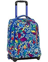 2 en 1 TROLLEY mochila INVICTA - TINDY FANTASY - azul rojo - Correas de hombro ocultables- 36 LT - escula viajes nuevo!