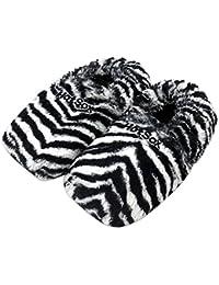 Original Hot Sox Wärmehausschuhe Größe M 36-40 / Zebra - aufheizbare Hausschuhe Leinsamenfüllung heizbare Körnerpantoffel für Mikrowelle / Ofen Plüsch Mikrowellenhausschuhe