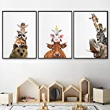 kingxqq Simpatico Orso Volpe Procione Zebra Giraffa Poster e Stampe nordici Quadri su Tela Pittura per Animali Immagini per pareti Animali Cameretta per Bambini Decor 40x60cm Senza Cornice