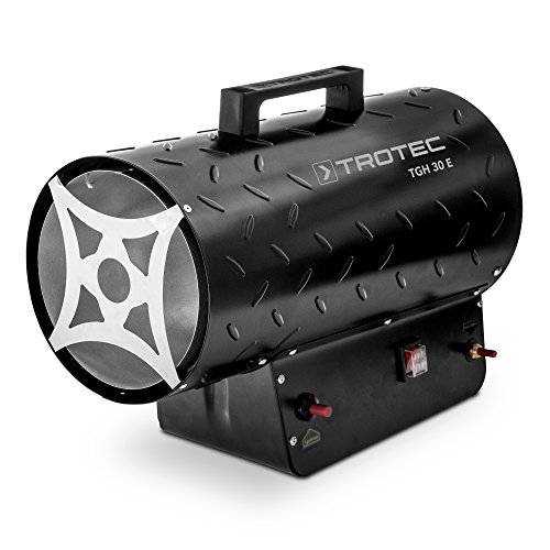TROTEC Gasheizgebläse TGH 30 E Gas Heizgerät inkl Verbindungschlauch und Druckminderer Heizleistung bis 30 kW, 650 m³/h Luftdurchsatz, für handelsübliche Gasflaschen, Piezozündung -