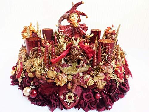 Adventskranz MARE VENEZIA Luxus Maritim grosse Adventsdeko Tischkranz Rot Goldfarben Muscheln romantische Weihnachtsdeko Froschkönig Harlekin