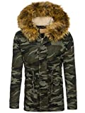 BOLF Herren Winterjacke mit Kapuze Parka Warm Camo Military S-WEST B3707 Grün L [4D4]