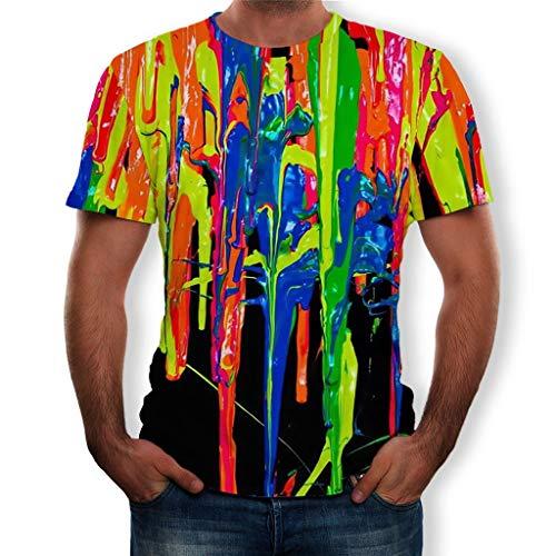FRAUIT Herren 3D Gedruckte T-Shirts Lustige Ölfarbe Inkjet Muster Rundhals Slim Fit Basic Kurzarm Shirt - 27 Inkjet-print