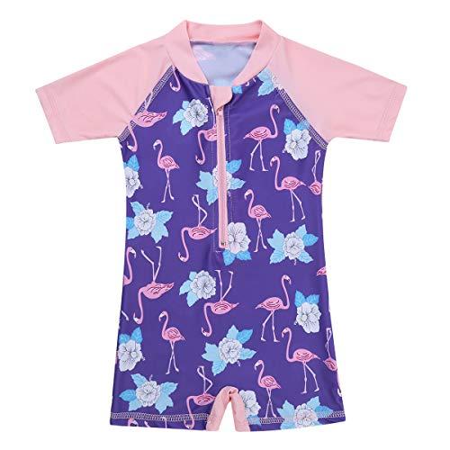 inlzdz Baby Mädchen Flamingo Badeanzug Einteiler Kurzarm Badebekleidung Sommer UV-Schutz Schwimmanzug One Piece für Kleinkinder 0-24 Monate Rosa & Lila 0-6 Monate