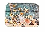 A.Monamour Badematten Badteppiche Badvorleger Blau Hölzernes Boot Nautisch Décor Marine Fischerei Net Meer Sterne Und Muscheln Bild Drucken Rutschfeste Flanell Badteppiche Matten Für Badezimmer Dusche Toilettenboden 40X60cm / 16 'X24'