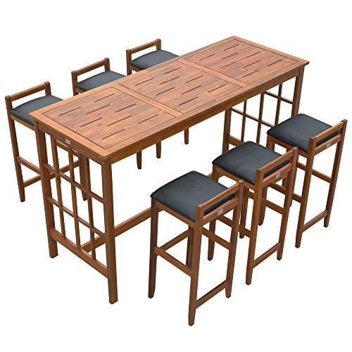 homcom Set Tavolo con 6 Sgabelli da Bar Cucina Giardino Esterno con Schienale Poggiapiedi Legno
