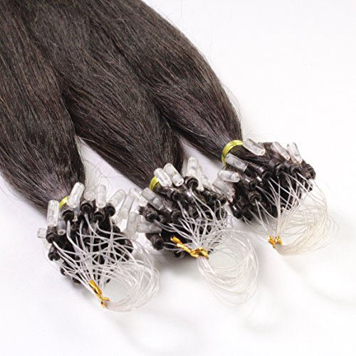 Just Beautiful Hair 200 Micro Loop Extensions con Anelli, Capelli Veri Remy Indiani 1g 60cm - #1b nero naturale, 1x200 ciocche