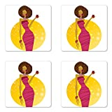 Lunarable Fashion sottobicchiere set di quattro by, sexy Model donna Afroamericana con un bicchiere di vino party elegante colore terra Gloss sottobicchieri per truciolato, quadrato, multicolore