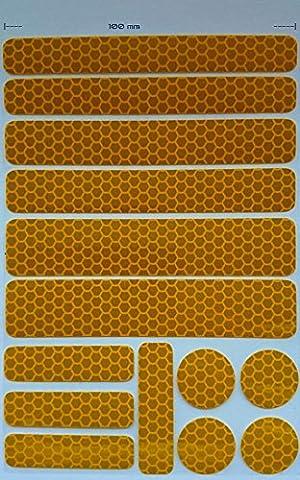 Reflektoren Set 14 Stück Buggy, Kinderwagen, Fahrrad, Rollator, Bikes, Helm (UvV®-Reflex) (gelb)