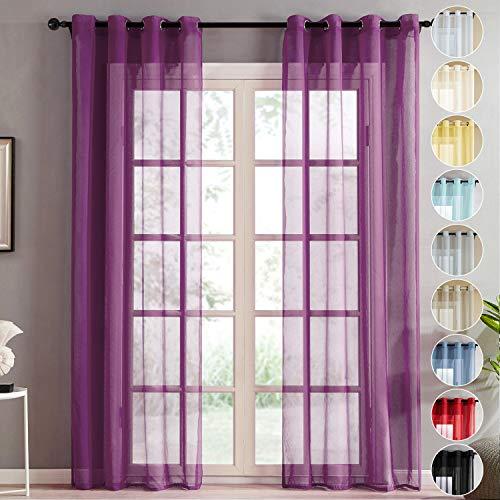 Topfinel Vorhänge Leinenstruktur Drapieren Romantisch für Wohnzimmer Fenster Einfarbige Gardinen Lila 2er Set, je140x245cm