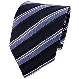 XXL TigerTie Seidenkrawatte in blau silber schwarz gestreift - Krawatte Tie 100% Seide Silk