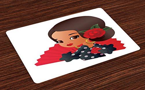 ABAKUHAUS Spanisch Platzmatten, Chibi Charakter im Flamenco-Kostüm mit Rose Flower auf ihrem Haar Mädchen Cute Cartoon, Tiscjdeco aus Farbfesten Stoff für das Esszimmer und Küch, ()