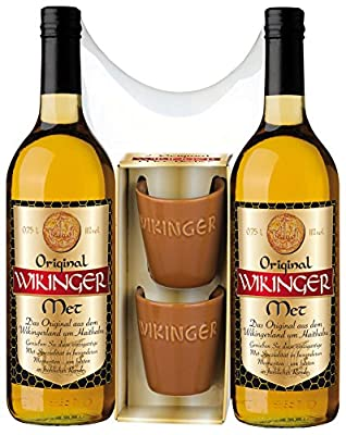 Original Doppel Wikinger Geschenkset ohne roten Met - 2x 0,75L Original Wikinger Met + 2 Met Tonbecher mit Wikinger Schriftzug