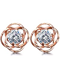 Lydreewam Women Rose Gold Earrings 925 Sterling Silver 3A 6MM Cubic Zirconia for Valentine Jewelry Gift