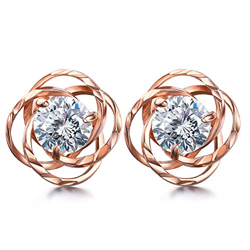 J.SHINE Damen Ohrstecker Ohrringe Rosegold Set Rose Liebe Basic 925 Sterling Silber mit 3A 6mm Zirkonia