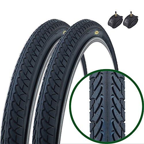 Hybrid Bike Road (Paar Fincci Slick Road Mountain Hybrid Bike Fahrrad Reifen 26 x 1.95 54-559 und Sclaverandventil Schläuche 48mm)