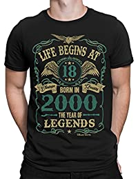 Buzz Shirts Life Begins at 18 Mens T-Shirt - Born in 2000 Year of Legends 18th Birthday Gift